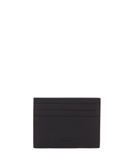 Giorgio Armani Tumbled Leather Credit Card Holder, Black