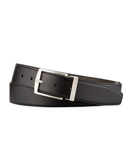 Giorgio Armani Men's Dual-Textured Leather Belt, Black/Brown