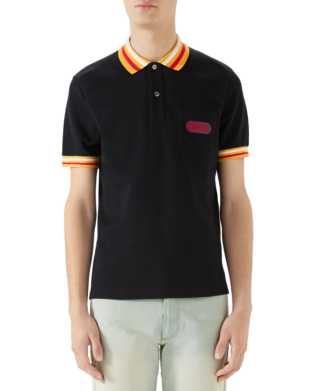 5970546f4 Gucci Men's Pique-Knit Polo Shirt with Contrast Color | Neiman Marcus