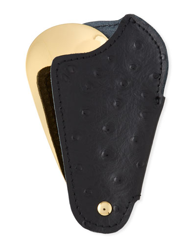 Golden Travel Shoe Horn with Printed Ostrich Leather Case  Black