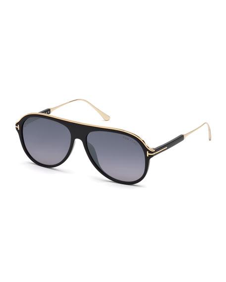 TOM FORD Men's Shield Acetate Sunglasses - Gradient Lens