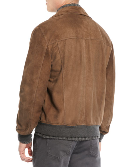 Brunello Cucinelli Men's Leather Biker Jacket