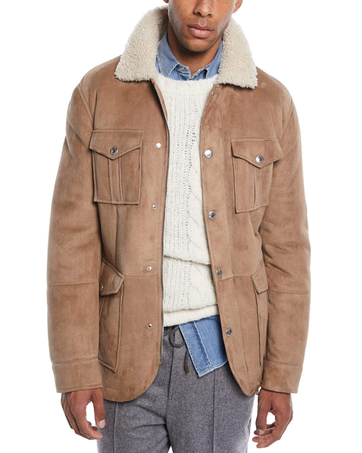 Brunello Cucinelli Men S Fur Lined Suede Safari Jacket Neiman Marcus