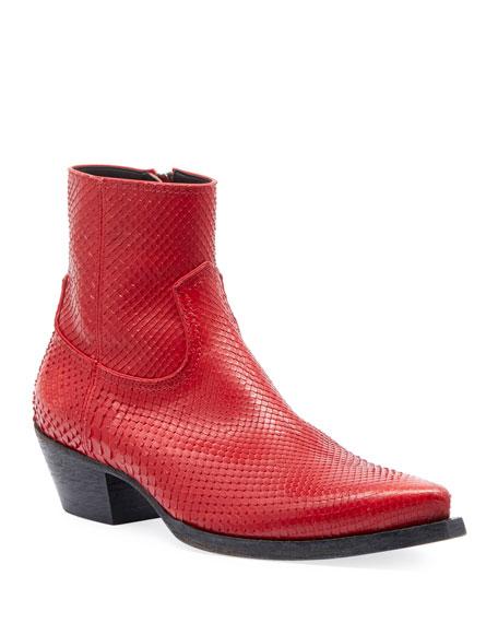 Saint Laurent Men's Lukas 40 Python Snakeskin Zip-Up Ankle Boot