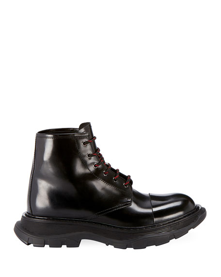 Alexander McQueen Men's Leather Lace-Up Combat Boots with Thick Rubber Sole