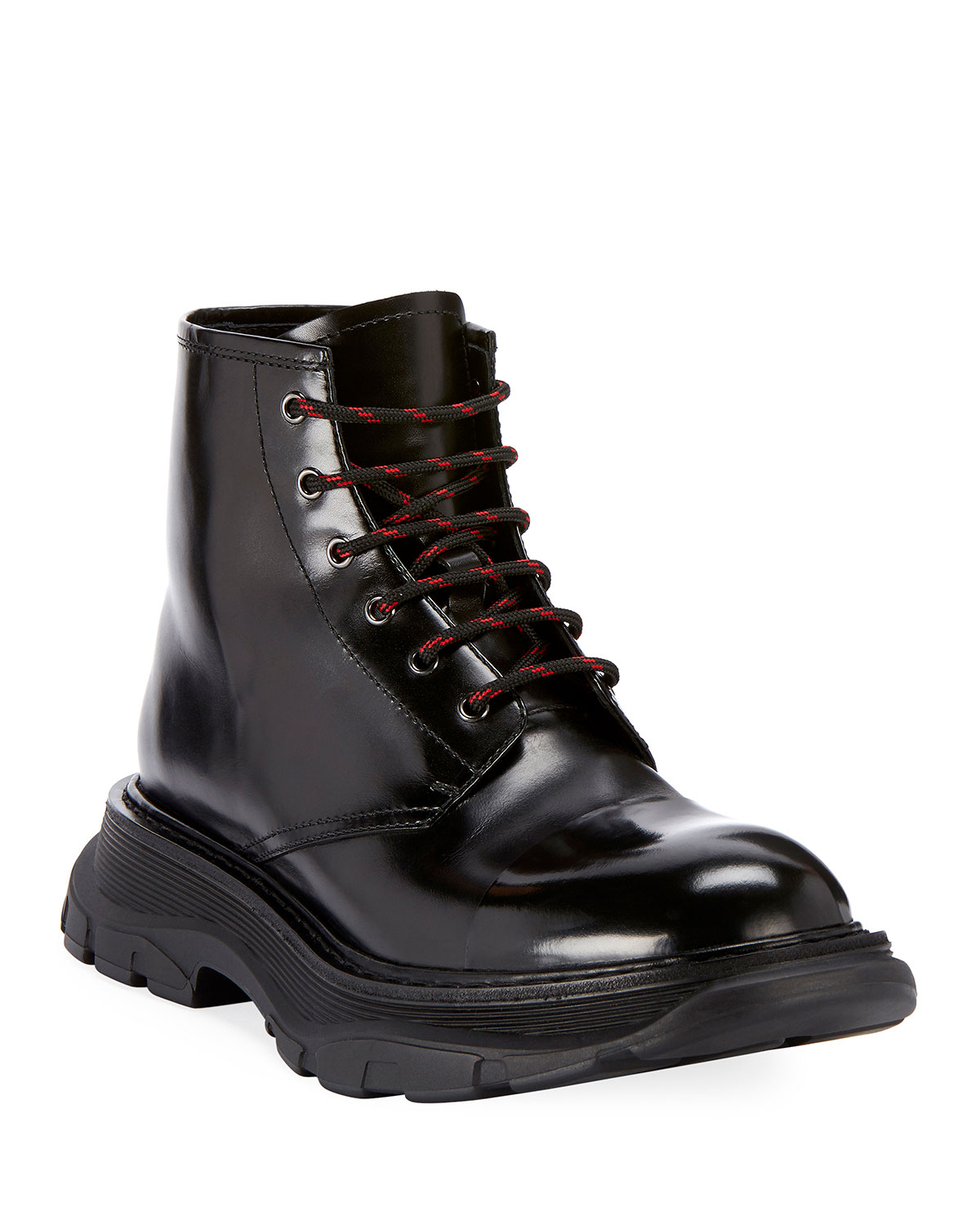 8f74546467f Men's Leather Lace-Up Combat Boots with Thick Rubber Sole