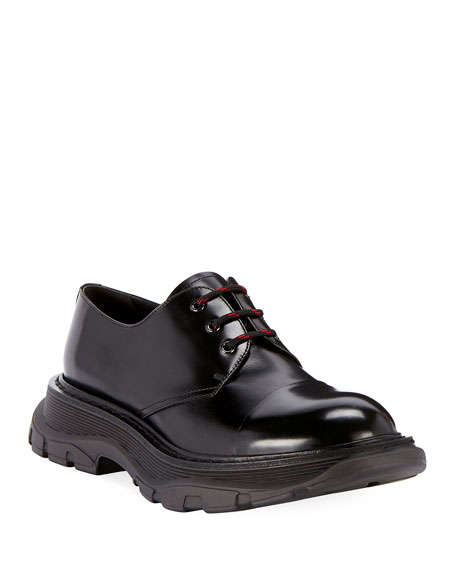 Alexander McQueen Men's Scarpa Leather Lace-Up Shoes with Thick Rubber Sole