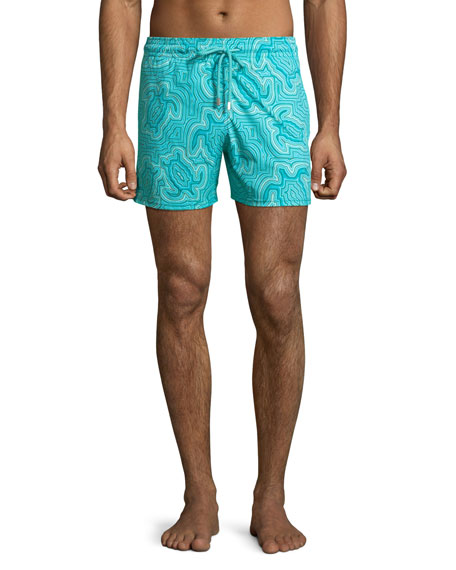 Image 1 of 4: Men's Hypnotic Turtles Graphic Swim Trunks