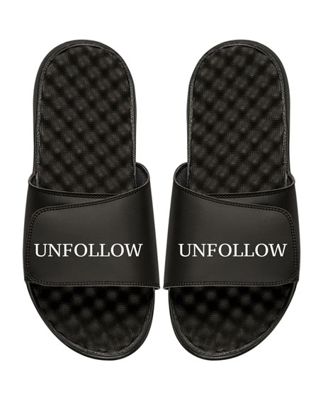 ISlide Men's Unfollow Slogan Pool Slide Sandal