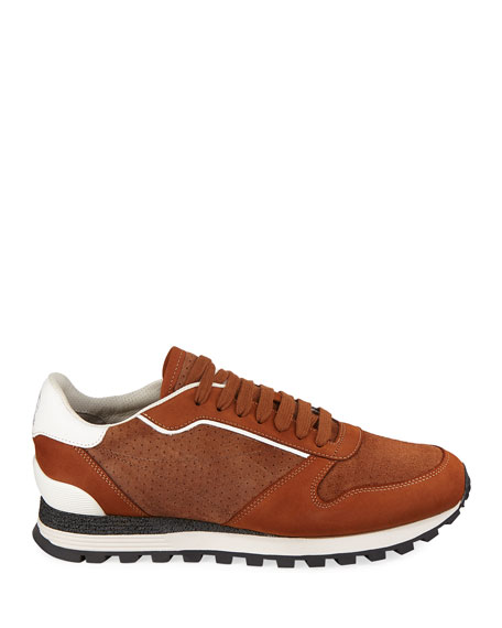Brunello Cucinelli Men's Perforated Suede Trainer Sneakers