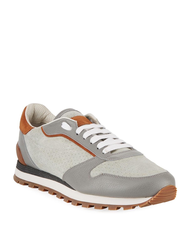 Leather amp; Trainer Sneaker Suede Marcus Cucinelli Brunello Men's Neiman HwqgtIUSx