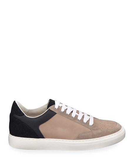 Brunello Cucinelli Men's Colorblock Low-Top Sneakers