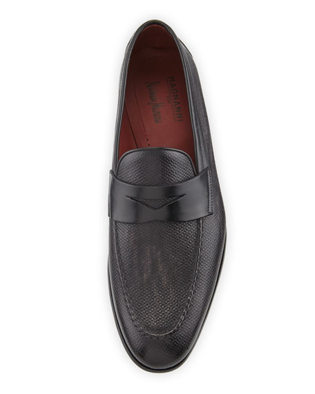 Magnanni for Neiman Marcus Men's Textured Leather Penny Loafers