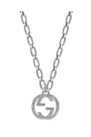 "Gucci Men's Interlocking G Pendant Necklace, 36""L"