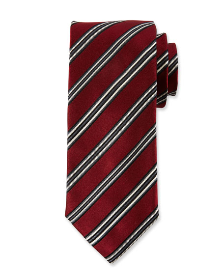 Canali Men's Alt Stripe Silk Satin Tie, Red