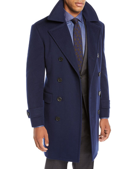 Canali Men's Wool-Blend Double-Breasted Top Coat