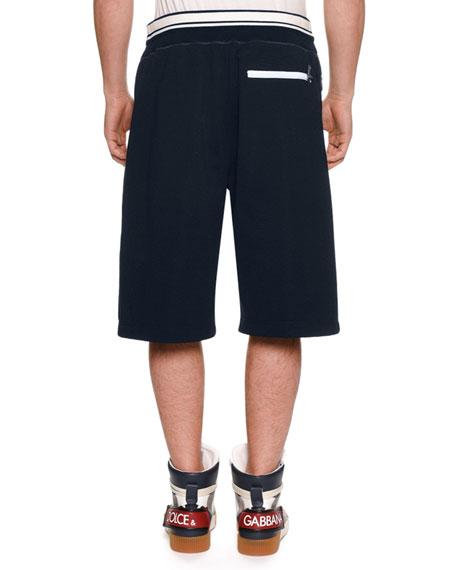 Dolce & Gabbana Men's Logo Drawstring Sweat Shorts w/ Side Zipper