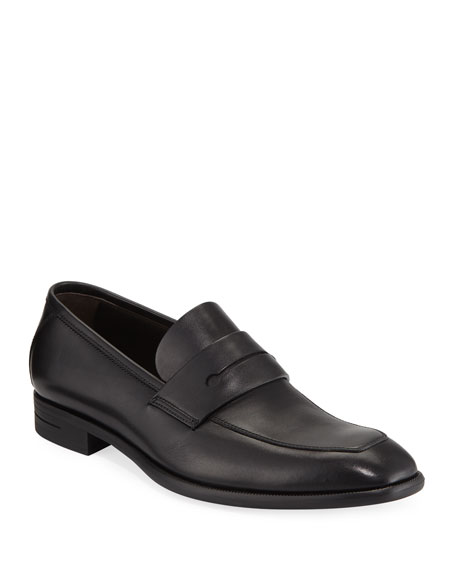 Ermenegildo Zegna Men's New Flex Leather Penny Loafer, Black
