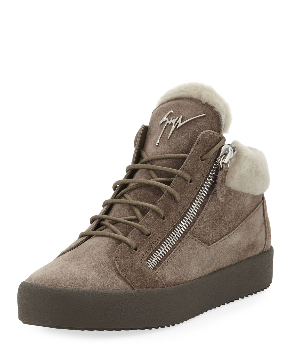 6b4a21fe32a915 Giuseppe Zanotti Men s Shearling-Lined Suede Mid-Top Sneakers ...