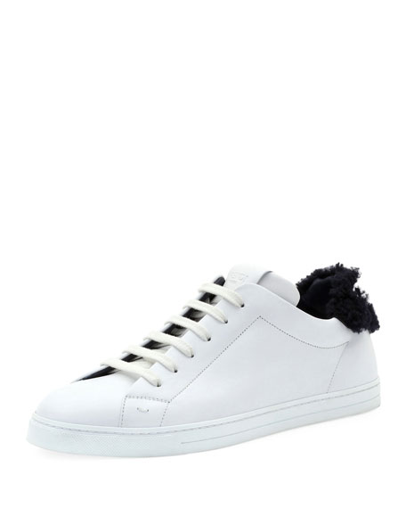 Fendi Men's Shearling-Lined Leather Low-Top Sneakers