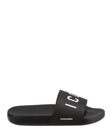 Men's Logo Rubber Slide Sandals, Black/White