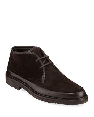 977386ea3a39 Ermenegildo Zegna Men s Trivero Leather-Trimmed Suede Chukka Boots