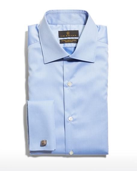 Ike Behar Men's Marcus French-Cuff Twill Dress Shirt, Blue