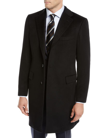 Neiman Marcus Men's Cashmere Car Coat, Black