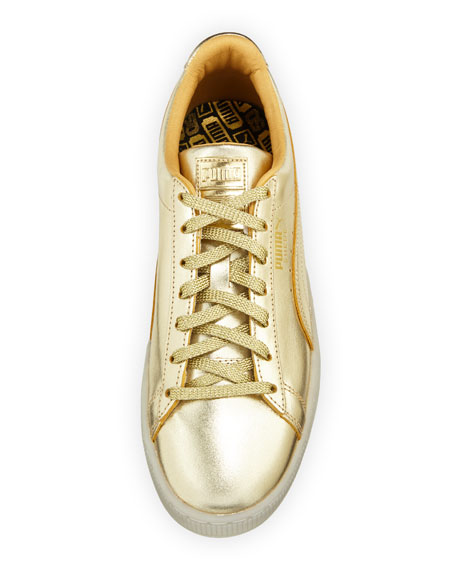 Men's Classic Metallic Leather Low-Top Sneakers