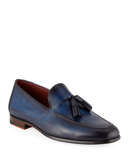 Magnanni for Neiman Marcus Men's Leather Slip-On Loafers with Tassels