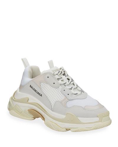 Men's Triple S Mesh & Leather Sneakers  White