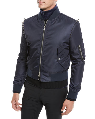 Men's Spiked-Shoulders Bomber Jacket