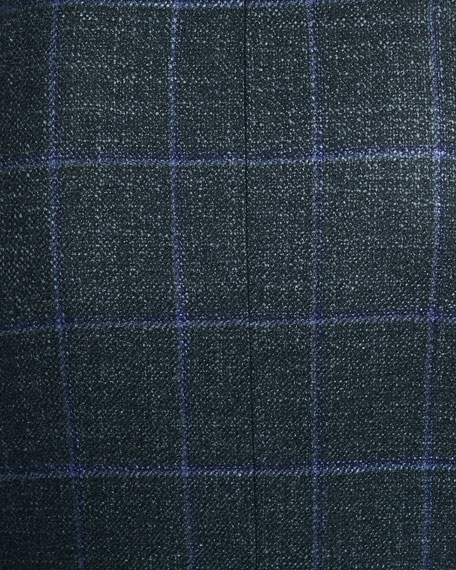 Image 4 of 4: Oxxford Men's Windowpane Two-Button Jacket