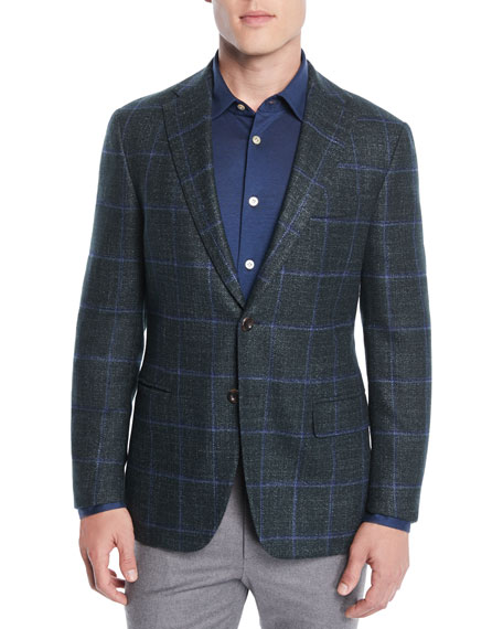 Image 1 of 4: Oxxford Men's Windowpane Two-Button Jacket
