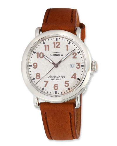 Men's 41mm The Runwell 3HD Watch w/ Statue of Liberty Back & Leather Strap