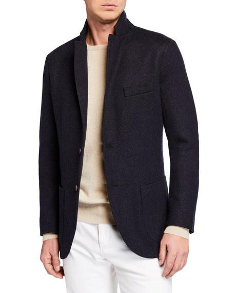 Loro Piana Men's Heathered Cashmere Sweater Jacket
