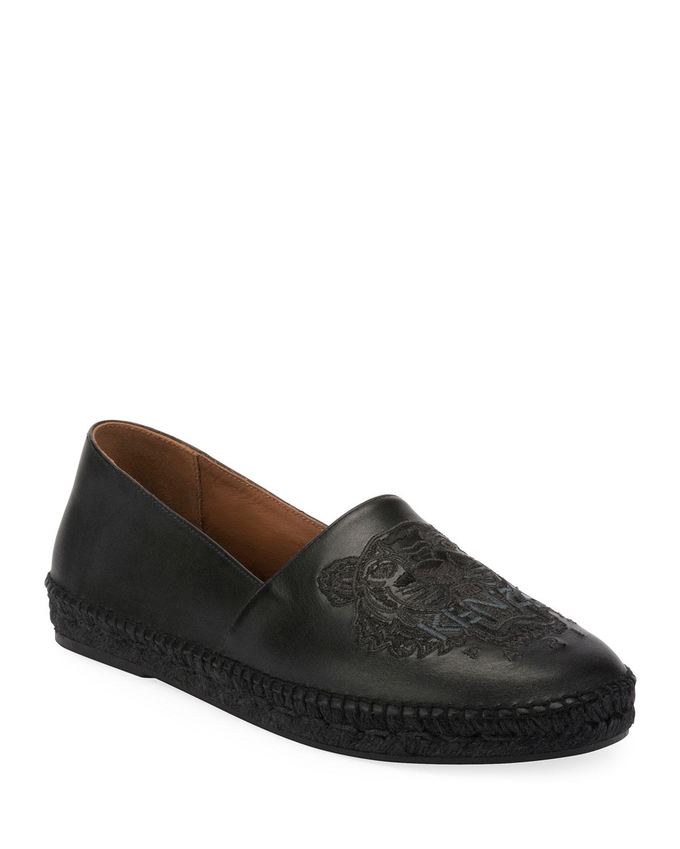 cb216191 Men's Tiger-Stitched Leather Slip-On Espadrilles