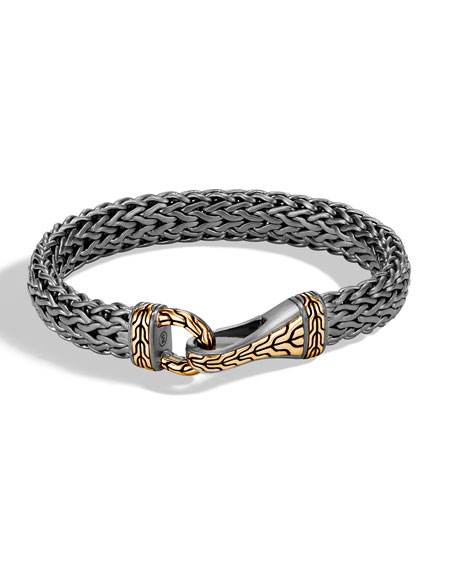 John Hardy Men's Classic Chain Silver Hook Bracelet with Black Rhodium & 18k Gold