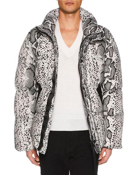 TOM FORD Men's Snakeskin-Print Puffer Jacket