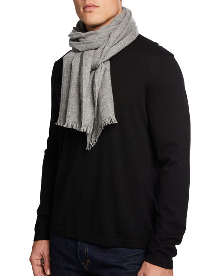 Neiman Marcus Men's Lightweight Cashmere Scarf with Side Tipping