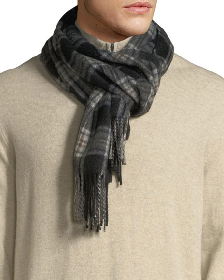 Neiman Marcus Men's Grid-Plaid Cashmere Waterweave Scarf
