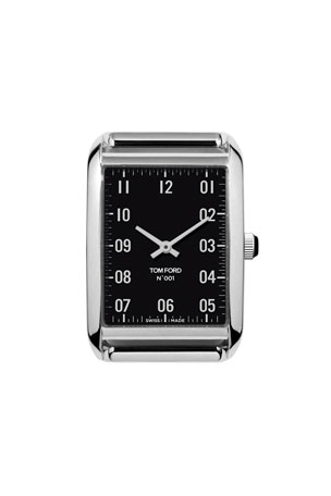 TOM FORD TIMEPIECES Polished Stainless Steel Case, Black Dial, Medium