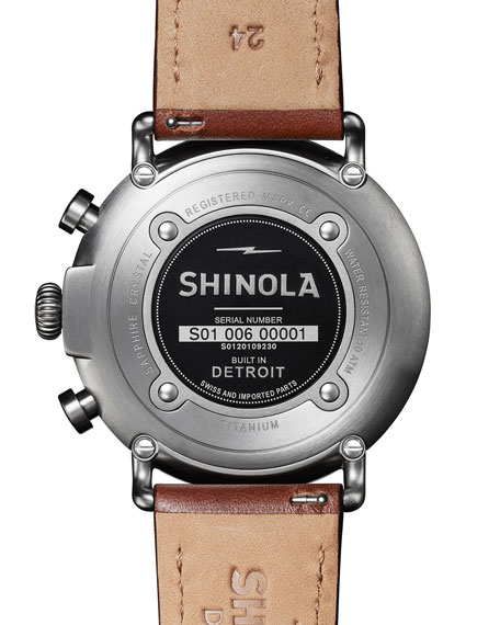 Shinola Men's 47mm Runwell Titanium Chronograph Watch with Brown Leather Strap