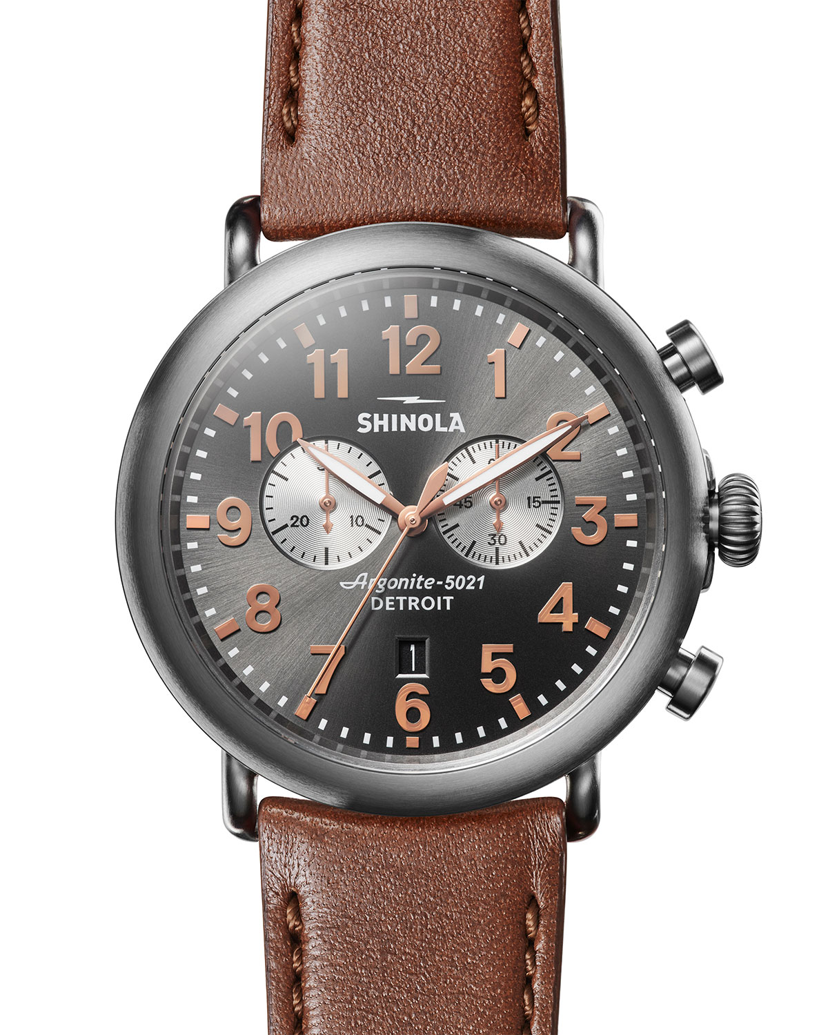 80a47158f Shinola Men's 47mm Runwell Titanium Chronograph Watch with Brown Leather  Strap
