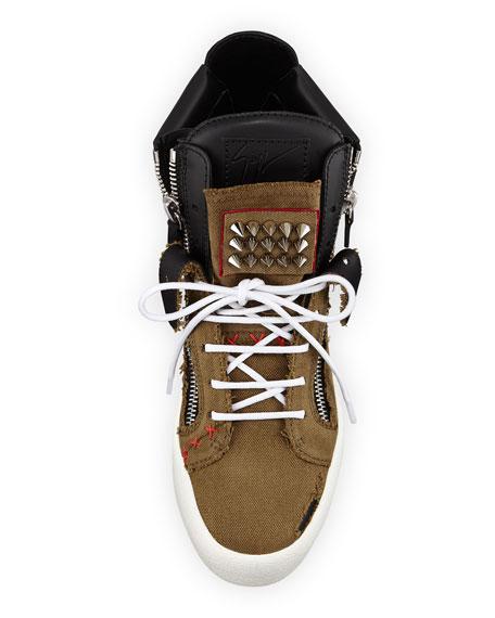 Giuseppe Zanotti Men's Chaos Studded High-Top Sneakers