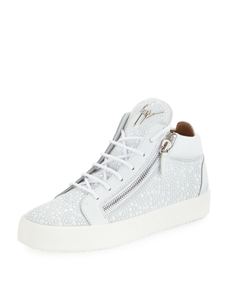 Giuseppe Zanotti Men's Bubble Suede Mid-Top Sneakers