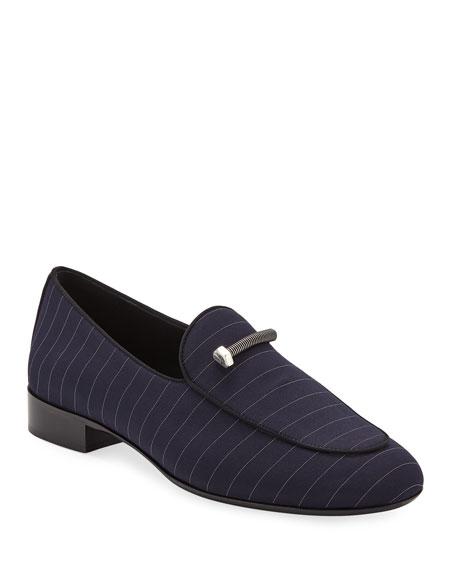 Giuseppe Zanotti Men's Pinstriped Formal Loafers