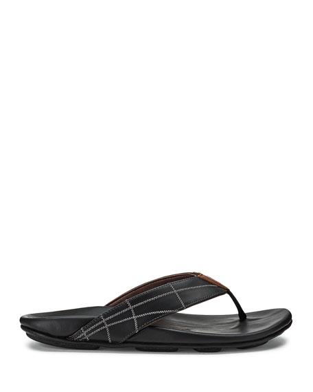 Olukai Men's Hokulea Kia Leather Flip-Flop Sandals