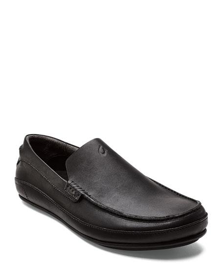 Olukai Men's Kulana Leather Slip-On Loafers, Black