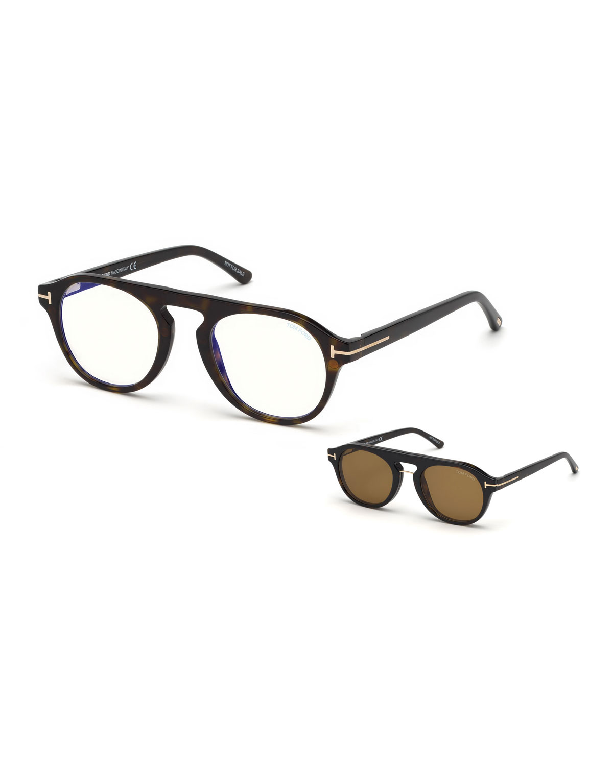 84a0b936 Men's Round Optical Glasses w/ Magnetic Clip On Blue-Block Shade